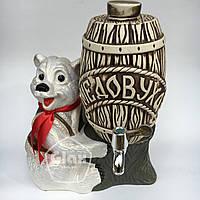 """Керамическая сувенирная бочка """"Медовуха"""" (2 литра) на керамической подставке медведь белый"""