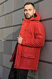 Мужская зимняя парка Nike red, красная парка Найк, фото 2