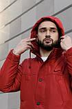 Мужская зимняя парка Nike red, красная парка Найк, фото 5