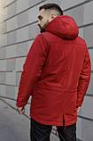 Мужская зимняя парка Nike red, красная парка Найк, фото 4