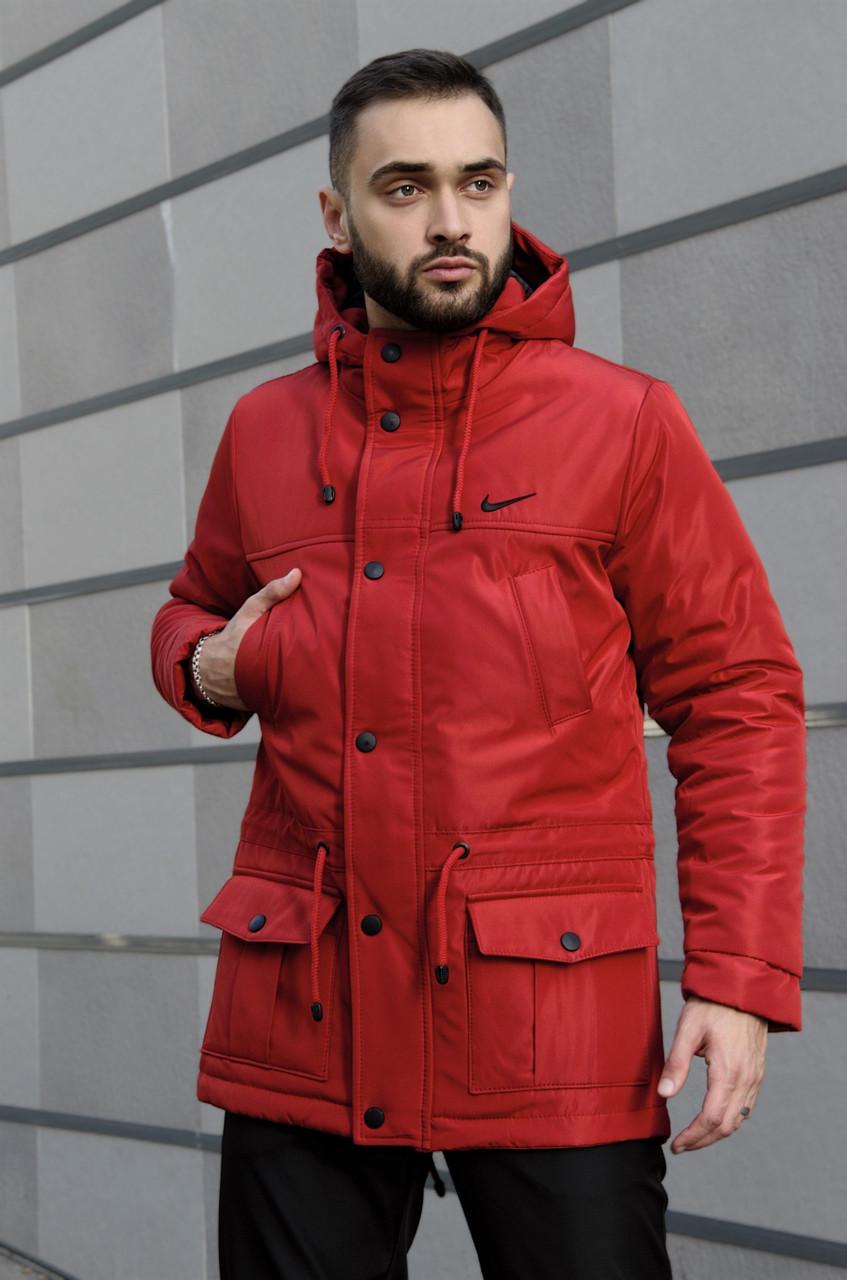 Мужская зимняя парка Nike red, красная парка Найк