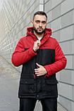 Мужская зимняя парка Nike red/black, красная парка Найк, фото 2
