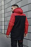 Мужская зимняя парка Nike red/black, красная парка Найк, фото 3