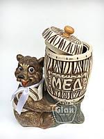 """Керамическая сувенирная бочка """"Мед"""" (2 литра) на керамической подставке медведь коричневый"""