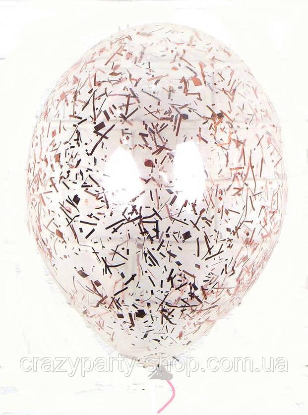 Воздушный шар с конфетти розовое золото мишура