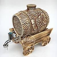 """Бочка керамическая на деревянной телеге """"Виноград"""" (3 литра)"""