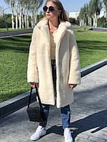 Эко Шуба Мисса натуральная женская 90 см теплая из меха натуральной стриженной овечки белая