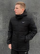 Мужская зимняя куртка Nike black, черная куртка Найк зимняя