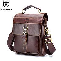 Мужская сумка через плечо Натуральная кожа Барсетка Мужская кожаная сумка для документов планшет Коричневая