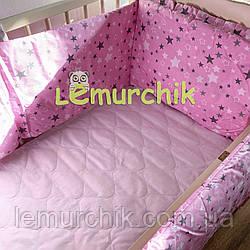 """Защита для детской кроватки 120х60 см, """"Звездочка розовая"""""""
