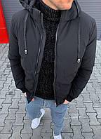 Зимняя черная мужская куртка холлофайбер короткая, турецкие зимние куртки мужские теплая S, M, L, XL, XXL