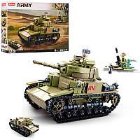 Конструктор блочный SLUBAN военный танк 463 детали.