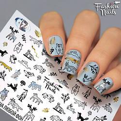 Декор нігтів Слайдер-дизайн Тварини - наклейки на нігті слайдери для манікюру водні Fashion Nails G79