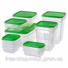Харчовий контейнер, набір 17 шт., прозорий, зелений ІКЕА PRUTA ПРУТА, 601.496.73