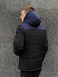 Мужская зимняя куртка Nike black/blue, куртка Найк зимняя, фото 3