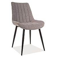 Мягкий кухонный стул Signal Zoom с обивкой из ткани серого цвета модерн на металлических ножках