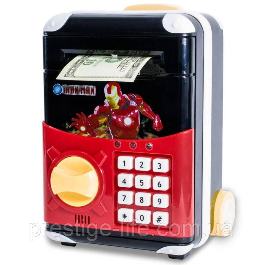 """Игрушечный детский сейф с электронным кодовым замком """"Айронмен"""" копилка детская"""