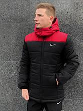 Мужская зимняя куртка Nike red/black, куртка Найк зимняя