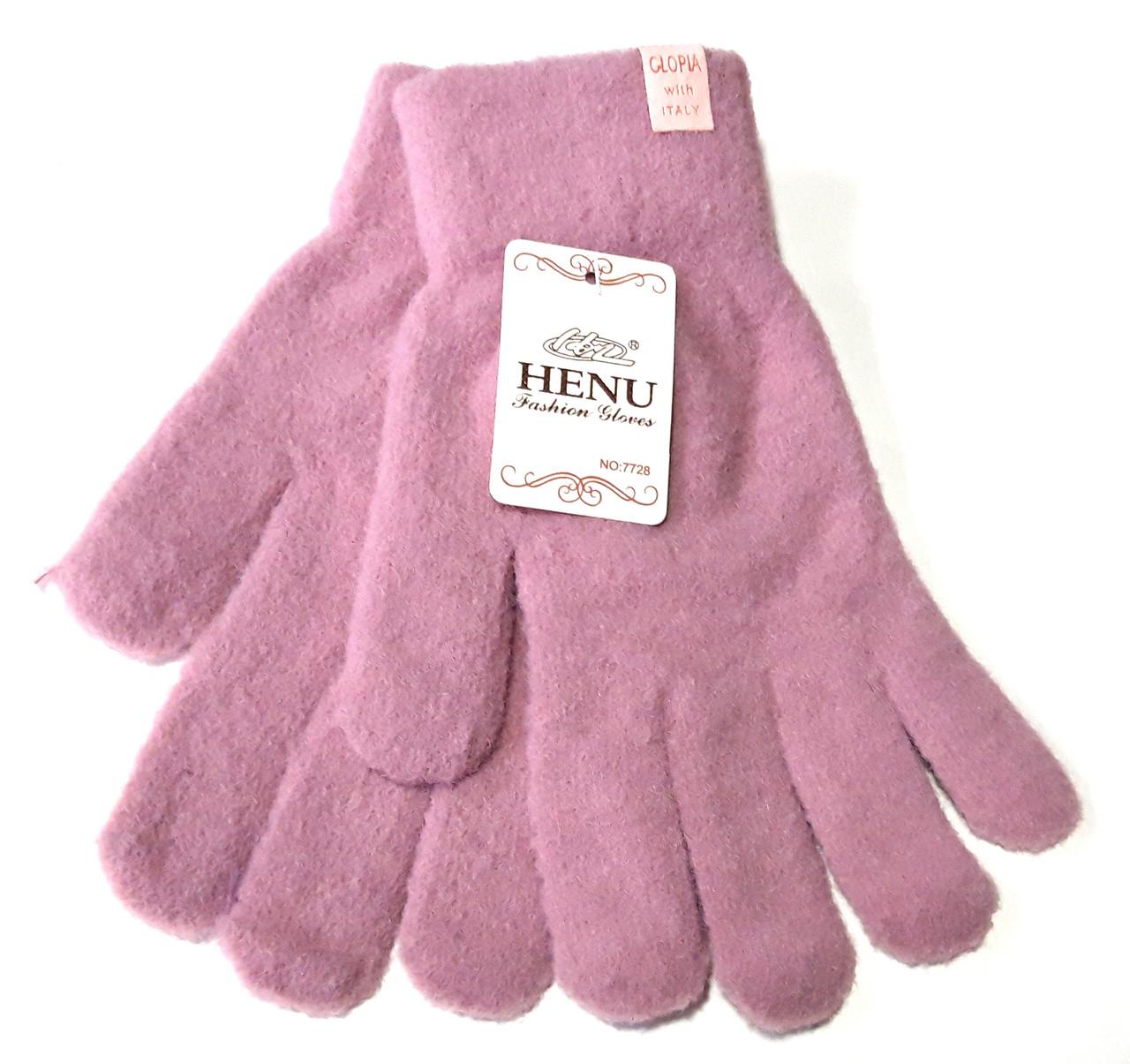 Женские перчатки Fashion пушистые (7-8,5), сиренево-розовые