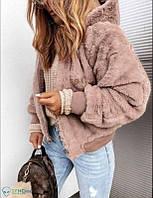 Женская зимняя двусторонняя куртка с капюшоном (пудра, бежевый, мокко, черный)