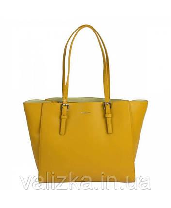 Женская сумка David Jones из экокожи желтая, фото 2
