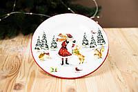 """Новогодняя Тарелка """"Дед Мороз в лесу"""" (25 см), фото 1"""