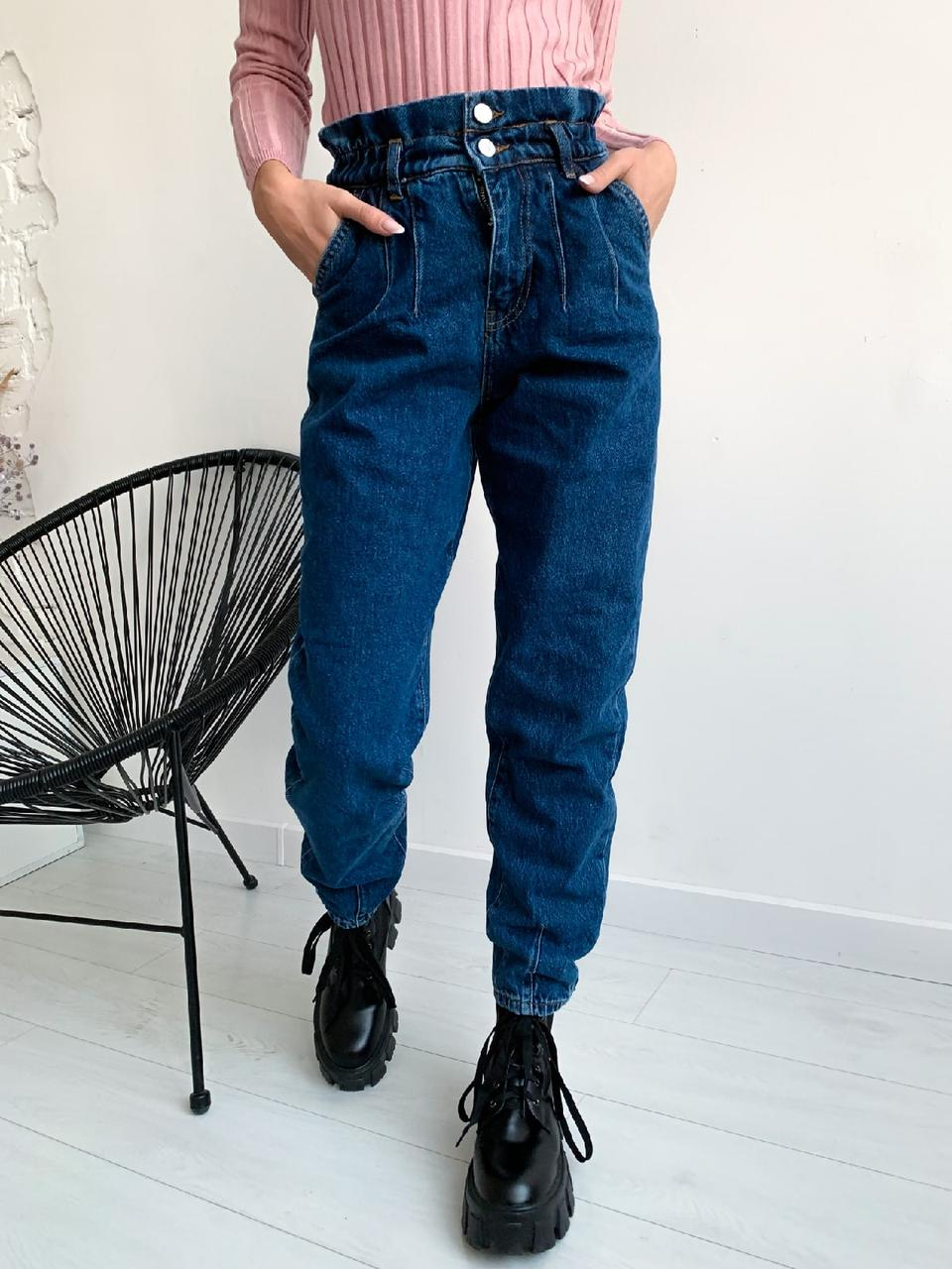 Жіночі джинси - балони на резинці на завищеною посадці (р. 34 - 40) 7912553