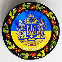 Магнит герб Украины на фоне флага , 82*5 мм, фото 1