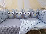 """Комплект постельный с бортиками и балдахином в детскую кроватку """"Совушки"""", фото 3"""