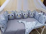 """Комплект постельный с бортиками и балдахином в детскую кроватку """"Совушки"""", фото 7"""