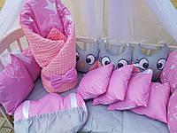 """Комплект постельный с бортиками и балдахином в детскую кроватку """"Совушки"""""""