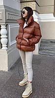 Женская зимняя куртка-пуховик из эко-кожи, фото 1