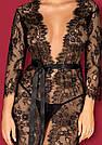 Халат женский длинный кружевной черный полупрозрачный  Obsessive  Lashy, фото 3