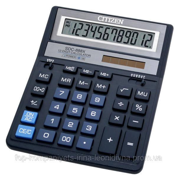 Калькулятор электронный CITIZEN 12-разрядный синий (SDC-888 XBL)