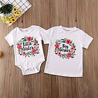 "Парні футболки з принтом ""Little sister. Big sister"" Push IT"