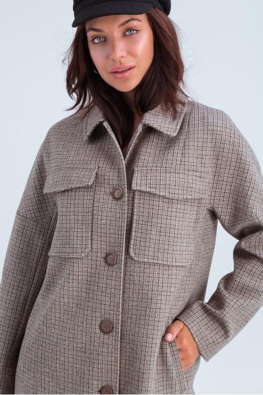 Пальто -сорочка в клітку Осінь/весна 42,44,46,48 розмір Капучіно