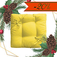 Подушка на стул табурет Color 35x35x5 см с завязками Желтый