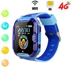 Детские Умные часы с GPS видеозвонком и 4G K22 Сине - голубые