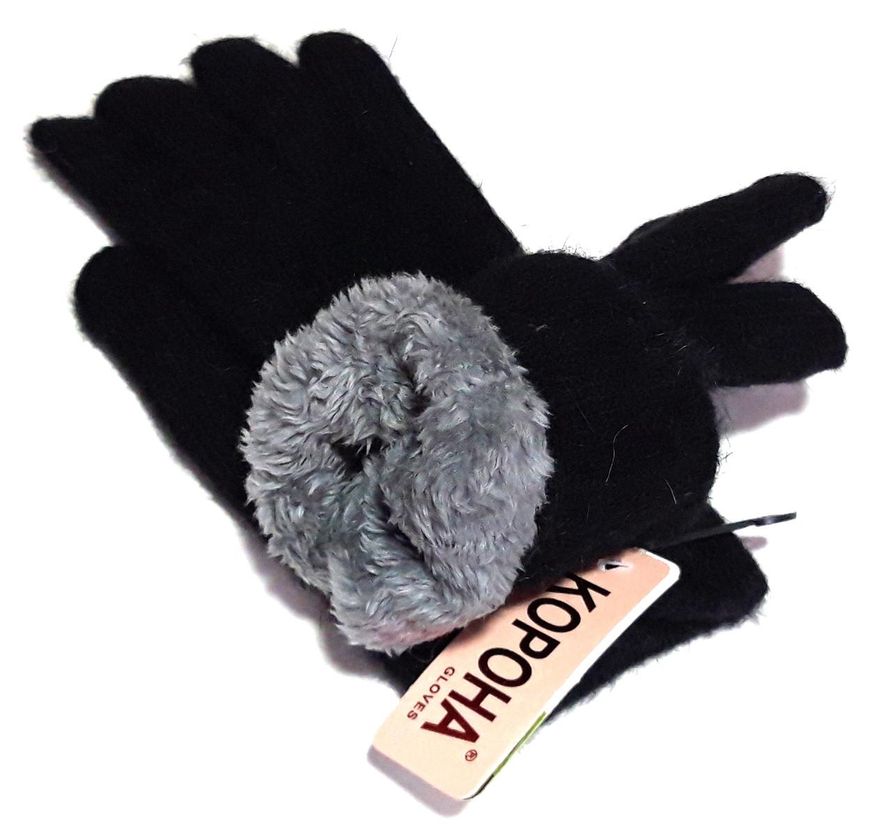 Перчатки Корона вязка/махра (7-8,5), черные