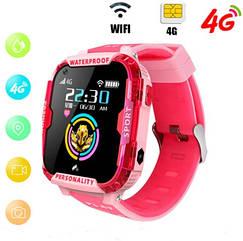 Детские Умные часы с GPS видеозвонком и 4G K22 Розовые