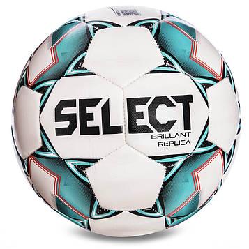 М'яч футбольний №4 SELECT BRILLANT REPLICA NEW (PVC 1000, біло-зелений)