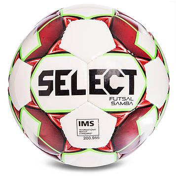 М'яч футзальний №4 SELECT FUTSAL SAMBA IMS NEW (FPUS 1200, біло-червоний)