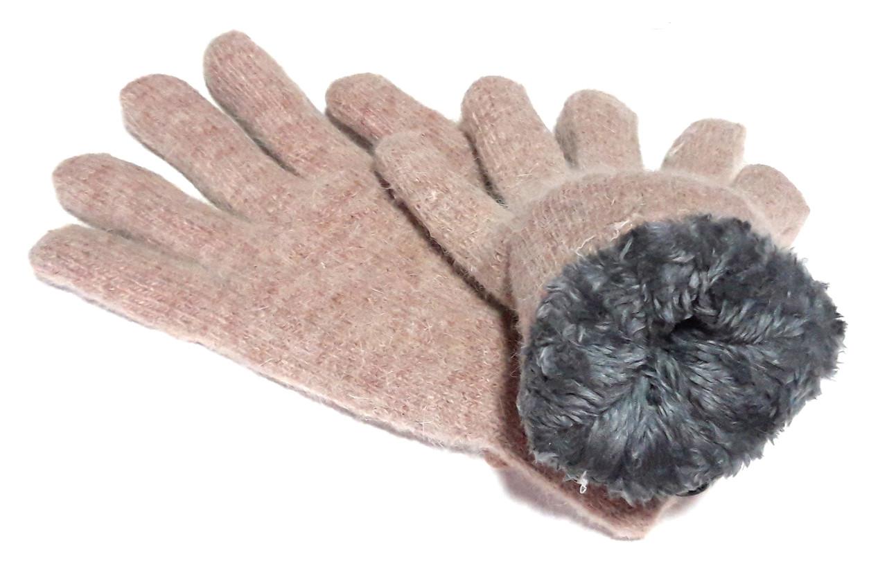 Перчатки Корона вязка/махра (7-8,5), бежево-розовые