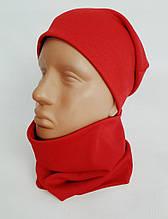 Комплект трикотажний шапка + баф червоний Подіум 27556-RED uni Червоний