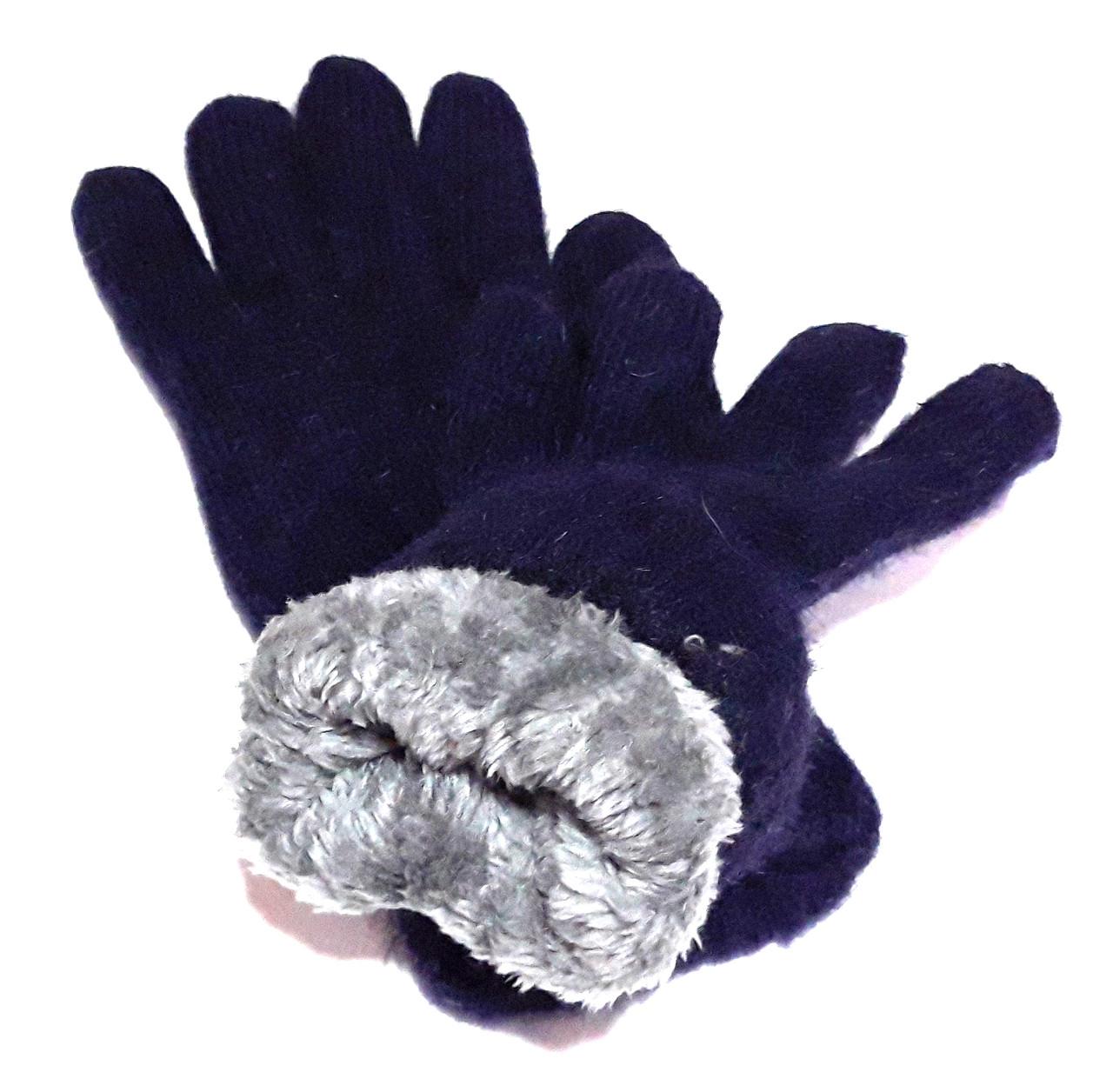 Жіночі перчатки Корона вязка/махра (7-8,5), темно-сині