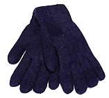 Жіночі перчатки Корона вязка/махра (7-8,5), темно-сині, фото 2