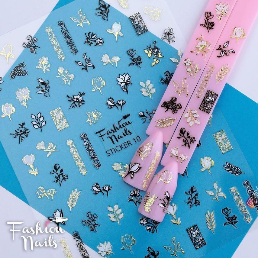 Стикер для ногтей STICKER 7 Fashion Nails 9*12см Наклейки для ногтей самоклейки Слайдеры для ногтей Цветы
