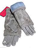Сенсорные женские перчатки митенки трикотаж/флис вязка, светло-серые, фото 2