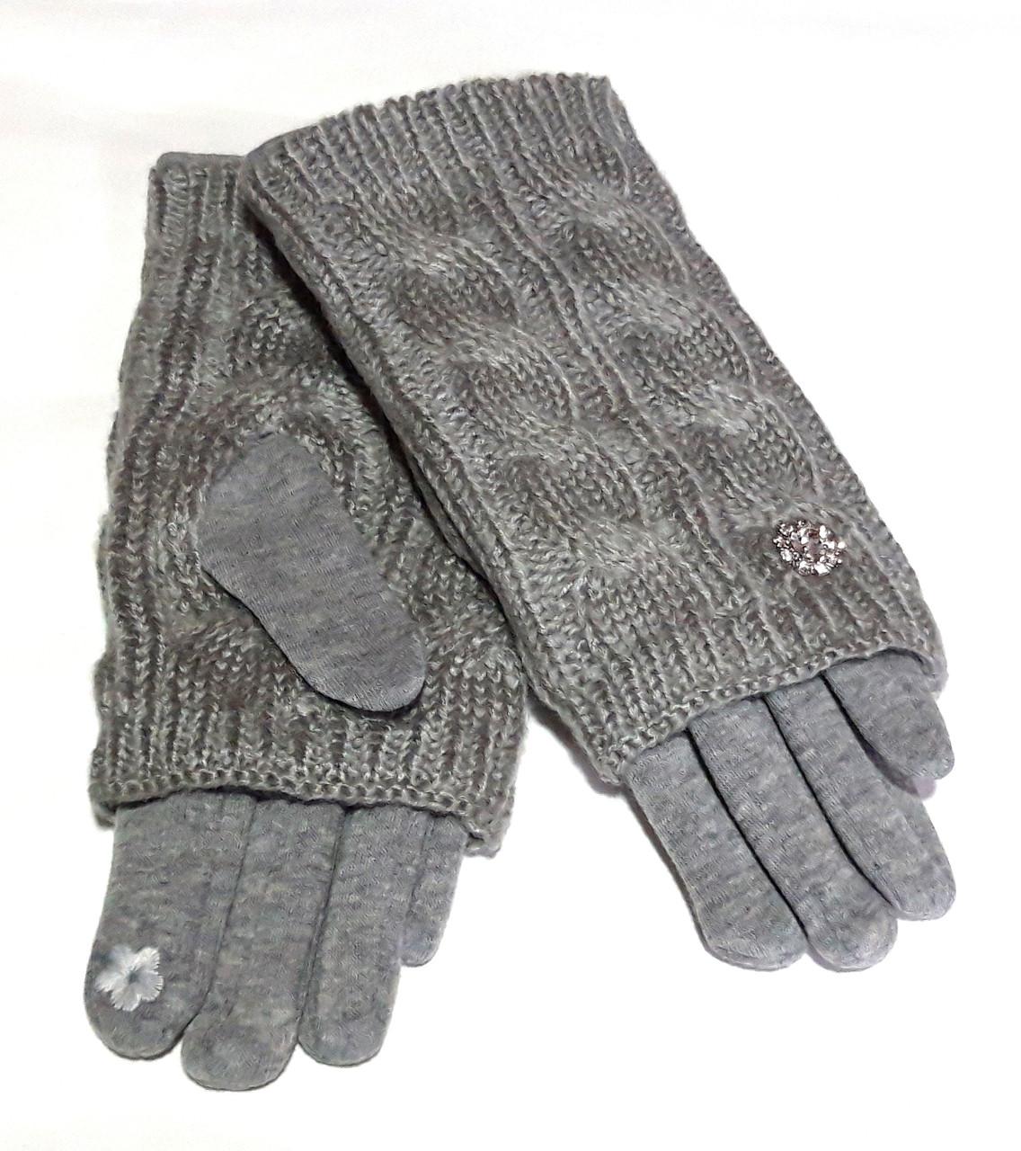 Сенсорные женские перчатки митенки трикотаж/флис вязка, светло-серые