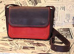 Сумка клатч натуральная кожа LS-01 Коричнево-красная